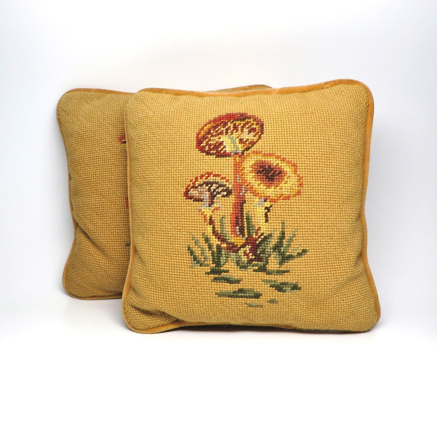 Vintage mushroom pillows small mustard yellow toss by for Small toss pillows