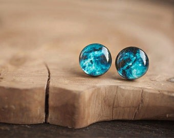 Cosmos stud earring  - Space earrings  - Cosmos earrings - Solar system jewelry - Nebula - i love you to the moon and back - STD14