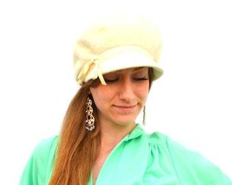 1960s Mod Mohair Gogo Hat Mid Century Christine Original Cream White Beaver Fur Merri Soie Twiggy Swinging London Merrimac Millinery Fashion
