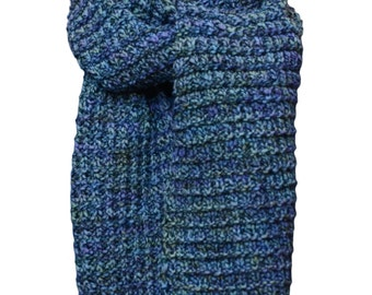 Hand Knit Scarf - Blue Spruce Tweed Fence Row Rib Wool