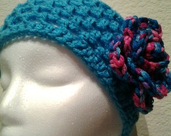 Blue Crochet Headband with Pink and Purple Flower, Teen, Child, Adult