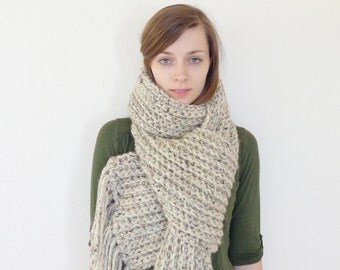 Chunky Knit Scarf with Fringe // Oversized Scarf // Giant Scarf // Chunky Scarf // THE MOUNTAIN HARE