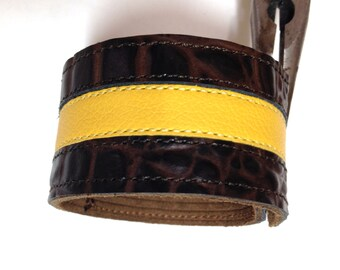 Genuine leather bracelet cuff brown and yellow striped wristband.