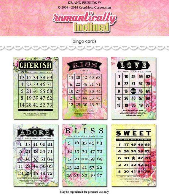 Digital vintage floral bingo cards