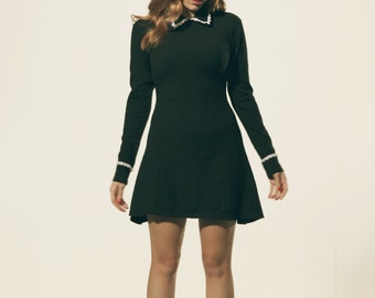 Black Dress with White Lace Trimming Peter Pan Collar