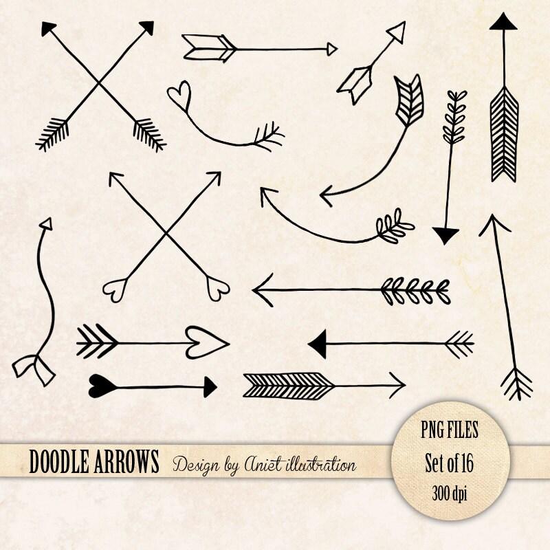 Aztec Arrow Clip Art Doodle Arrows Clip Art Set