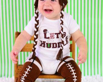 Let's Huddle, Newborn Football Outfit, Football Onesie AND LEG WARMERS, Baby Boy Baby Shower Gift, Fall Outfit, Going Home Outfit
