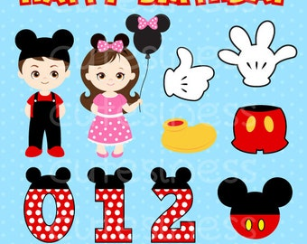 Mickey Mouse Digital Clipart , DIY Mickey Party, Mickey Clipart