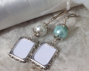 Wedding Bouquet photo charm in blue or white. Memorial photo charm. Bridal shower gift. Gift for a bride. Remembrance photo. Co-worker gift.