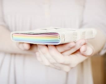 Rainbow Leather Wrap Journal - Handbound Leather Blank Book - 6 x 4 - Custom - Pastel Multi Colour Pages - A6