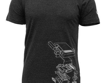 BackBackPunch Medium T-shirt, Exploded NES Nintendo System, Dark Heather Grey
