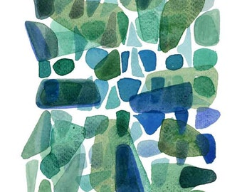 Large abstract painting green, sea glass art watercolor painting  Abstract painting