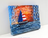 SALES, Sailing, original mixed media art on canvas, Take me to the Sea series, fall winter home decor
