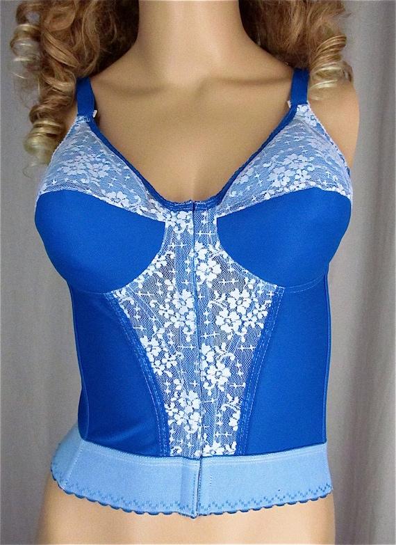 Hand dyed vintage bra 34c pin up lingerie long line corset for Corset bras for wedding dresses