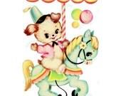 Vintage Digital download, Carousel, Vintage greeting card, Printable, image, Cards, Scrapbooking, Vintage collage sheet