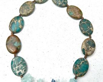 Aqua Terra Necklace, Aquamarine and Quartz Necklace, Sea Sediment Jewelry, Sea Sediment Jasper, Beach Necklace, boho Necklace, Free Shipping