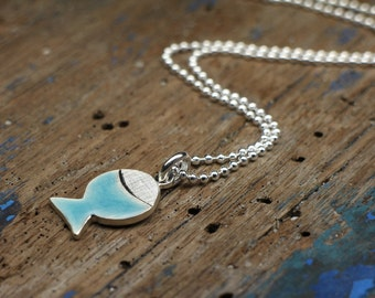 925 silver Necklace Blue fish, marine pendant for beach, sea and travel
