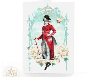 Christmas card, Fox, Anthropomorphic fox, winter, woodland, snow, peace card, dove, love, grey fox, holiday card, blue, red