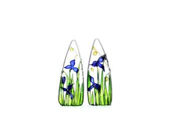 Iris Silver Earrings. Blue Earrings. Green Earrings. Flower Earrings. Dangle Earrings. Flower Jewelry. Wire Jewelry. Art Nouveau Jewelry.