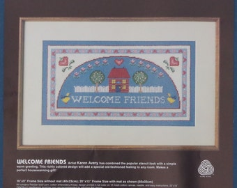 1985 Welcome Friends Needlepoint Kit by Artist Karen Avery - Dimensions Kit 2301
