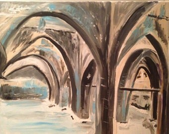 Underground cistern in Israel original acrylic painting. Challange by Ted my son. Very time consuming, done from photo.