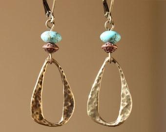 Boho Earrings Turquoise Brass Earrings Southwest  Bohemian Earrings Dangle Jewelry Textured Earrings Jewelry Gift For Her Gift Ideas