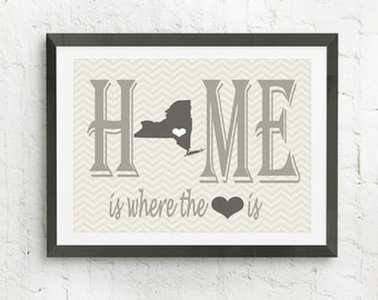 Home Is Where The Heart Is, Custom Map Wall Art,  Personalized Family Print, Map With Heart,  Personalized Art Print, Custom Wall Art, Gift