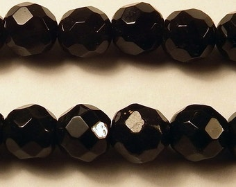 """Black Agate Faceted 8mm Round Beads 7.5"""" Strand"""