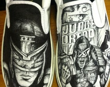 Judge Dredd hand drawn Shoes, One of a kind!