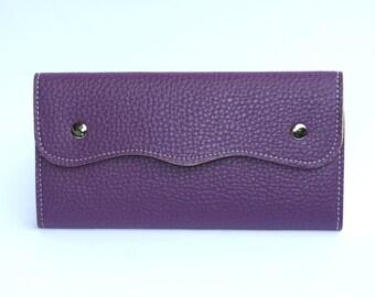 Women's Purple Leather Wallet, Women's Purple Leather Purse, Leather Wallet, Leather Purse, Purple wallet, Purple Purse , Womens wallet