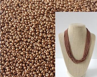 Copper beads 11/0,Preciosa Ornela,Czech beads,brown seed beads,,tiny beads,small beads,jewelry supplies,2mm beads,glass beads,SWEM-659BS11