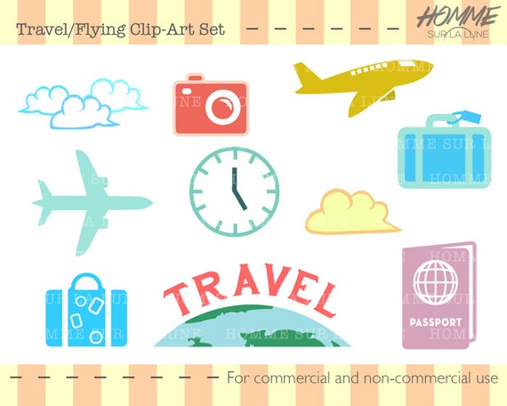 Travel icons clipart travel clipart scrapbook clipart