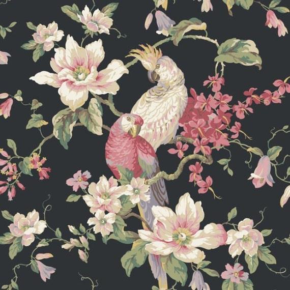 floral et oiseaux sur fond noir en fond d 39 cran par. Black Bedroom Furniture Sets. Home Design Ideas