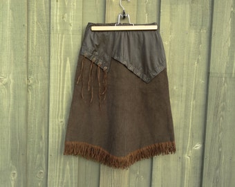 Brown Corduroy Skirt Fringe Lining Hippie Bohemian Size Small