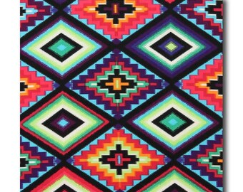 Cotton Quilting Fabric by the Yard- Alexander Henry - Gods Eye Turquoise Southwest