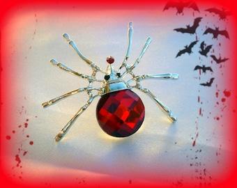 50% SALE Red Spider Brooch..Spider Pin..Spider Jewelry..Spiderman Costume..Halloween Pin..Halloween Brooch..Creepy Jewelry..Halloween Gift