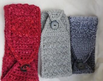 Crochet Headband / Ear Warmers - Button Close