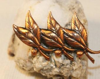 vintage copper leaves brooch