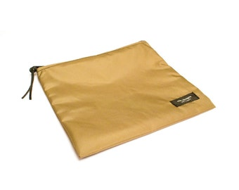 Nylon Pouch 8x8 inch Tan   use for travel, snacks, cosmetics, a tool bag, photo-video gear, and more!