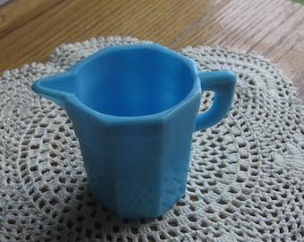 Akro Agate Slag Glass Child's Toy Blue Pitcher 1940 Era