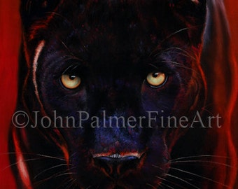Black Panther painting, black panther picture, Panther print from my original pastel painting Nightstalker.