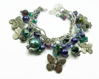 Beaded Purple And Green Fibromyalgia Butterfly Charm Bracelet, Layered