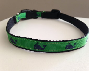 Green with Blue Whales Small 1/2 Inch Dog Collar