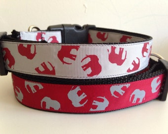 Large Crimson with Gray Elephants or Gray with Crimson Elephants Dog Collar