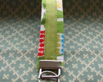 Green Ribbon Key Chain, Wristloop Keychain, Wristlet Key Chain