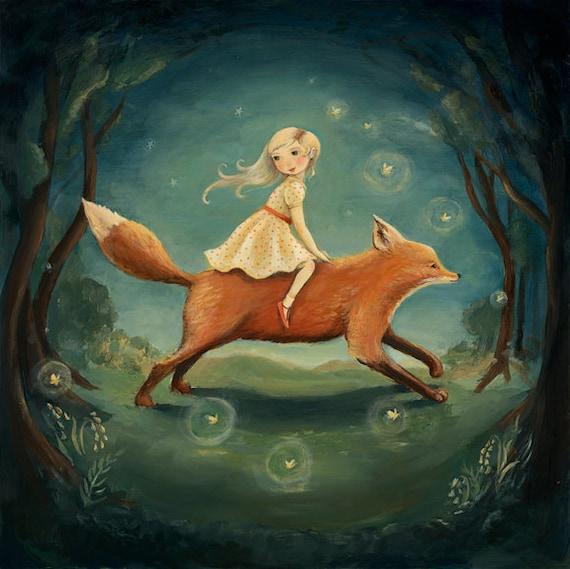 Dream Animals Fox Girl Print by Emily Winfield Martin