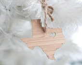 Texas State Ornament - I heart Texas Bamboo Ornament Texas State Pride Texas Wooden Ornament Tree Ornament Stocking Stuffer