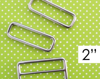 2 Inch Slide and Rectangle Rings | Triglide slider and rectangle ring hardware to make adjustable straps for a large purse or messenger bag.