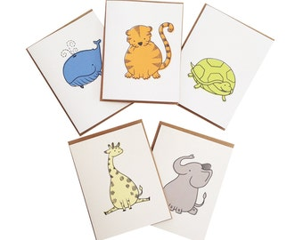 Baby animals stationery card set - set of five cards - kraft envelopes
