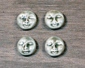 Set of Four Small Round Face Stones in Pale Flesh